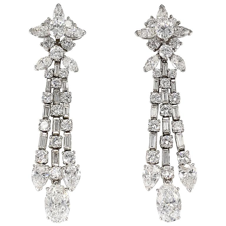 Harry Winston Diamond Platinum Ear Pendants circa 1960s 1