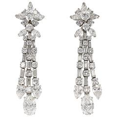 Harry Winston Diamond Platinum Ear Pendants circa 1960s