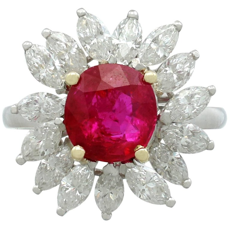 1960s French 2.30 Carat Ruby and 1.65 Carat Diamond Platinum Cluster Ring