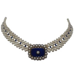 Pearl, Lapis Lazuli,and Bue Enamel Necklace with Pearl and 14k Gold Clasp