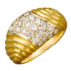 French Diamond Pave Gold Dome Ring, Paris