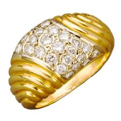French Diamond Pave Gold Dome Ring