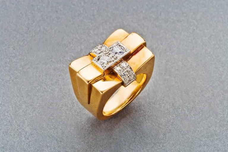 1940s French Diamond Gold Bridge Ring 9