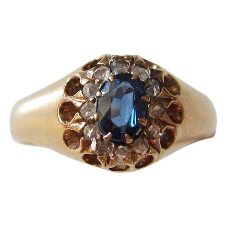 1917 Russian Revolution Sapphire Diamond Gold Cluster Ring 1