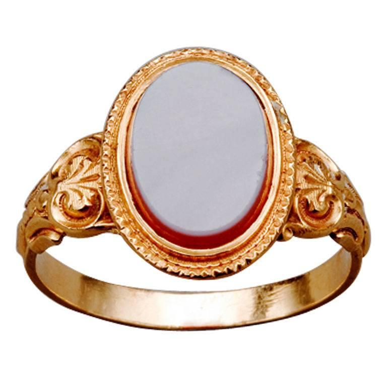 1860s French Napoleon III Agate Gold Signet Ring