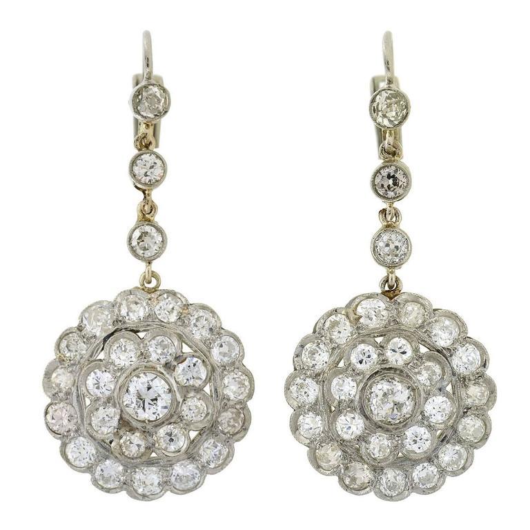 9ca26ea6673 Late Art Deco Diamond Cer Platinum Earrings 4 20ctw At 1stdibs. Gucci  Horsebit Black Diamond 18k Rose Gold Drop Earrings