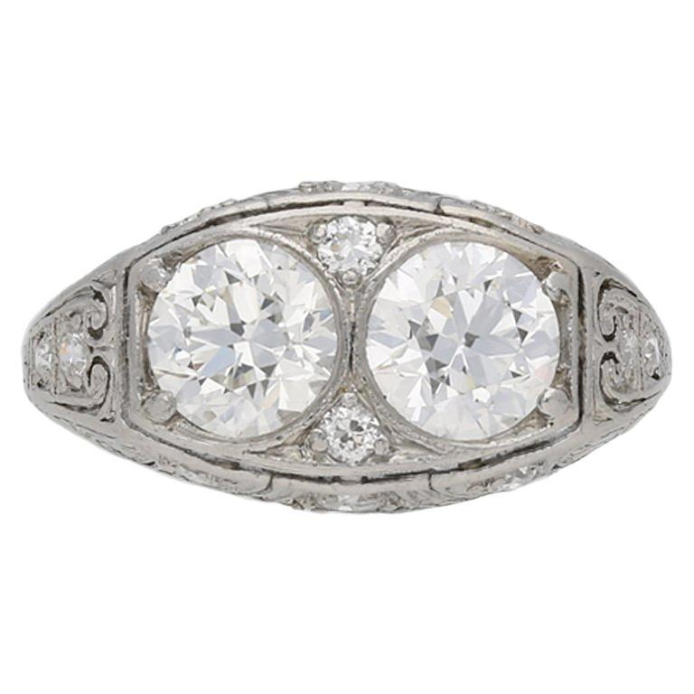 Bailey Banks And Biddle 1920s Two Stone Diamond Ring For Sale At 1stdibs
