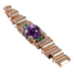 1940s Retro Amethyst Emerald Diamond Rose Gold Bracelet