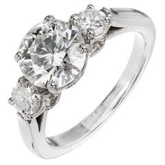 Peter Suchy GIA 1.85 Carat Diamond Three-Stone Platinum Engagement Ring