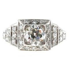 Art Deco 1.11 Carat Round Diamond Platinum Engagement Ring