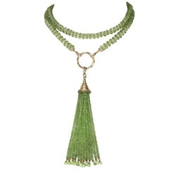 Peridot Tassel Rope Necklace with 14k Yellow Gold, Gold Plated Cup, and Diamonds