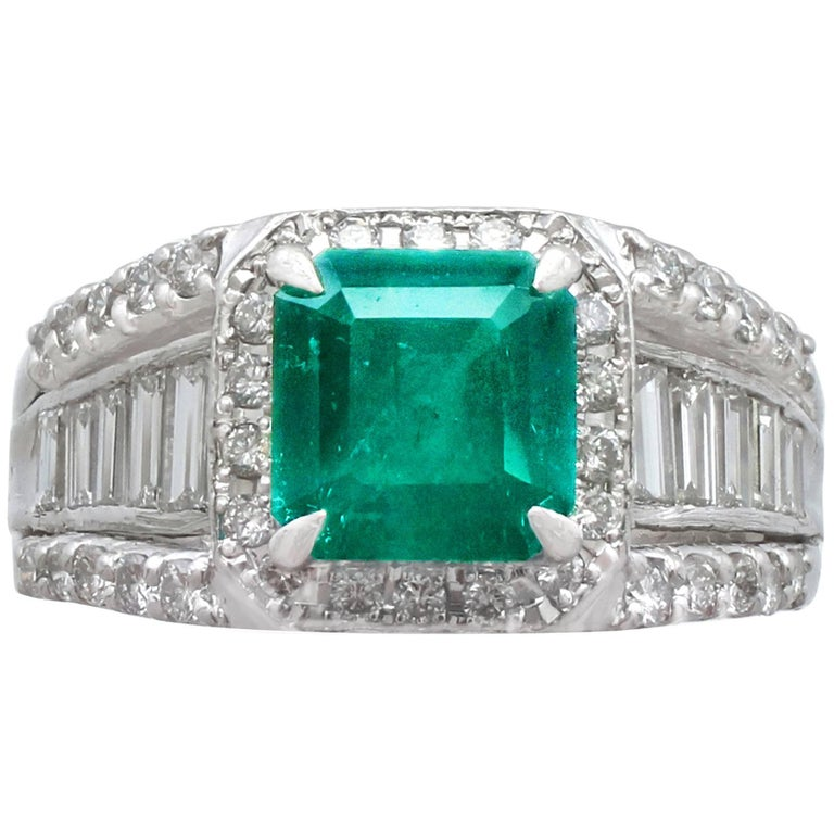 1.93 Carat Emerald and Diamond Platinum Cocktail Ring