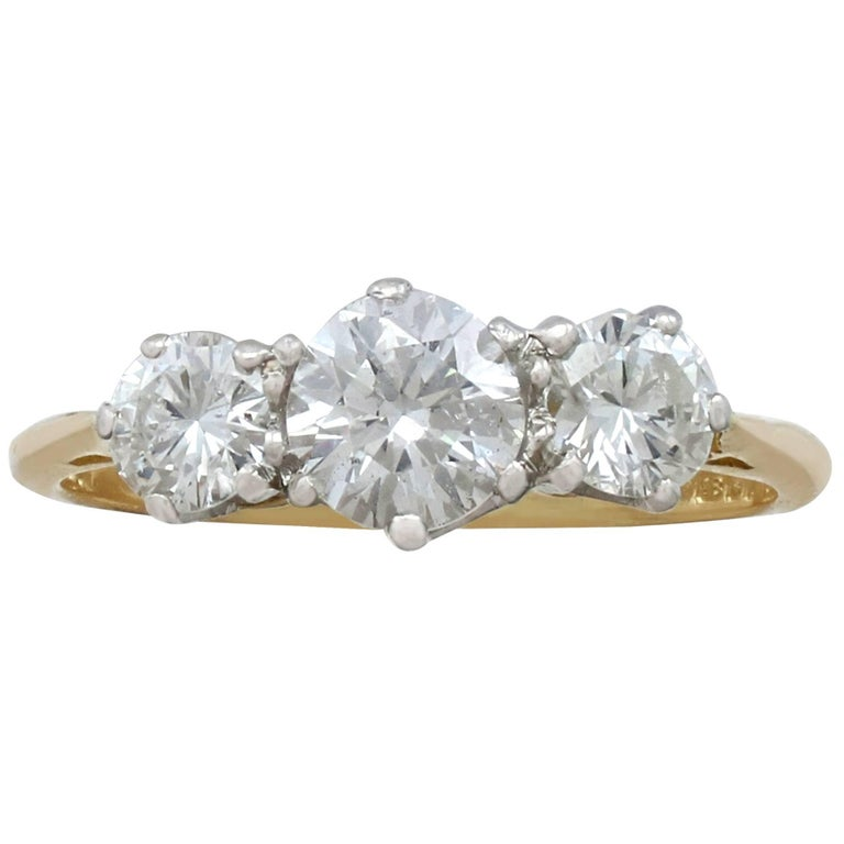 1.27Ct Diamond and Yellow Gold Trilogy Ring - Vintage 1964