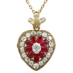 1880s Synthetic Ruby 4.55 Carats Diamonds Gold Pendant Locket