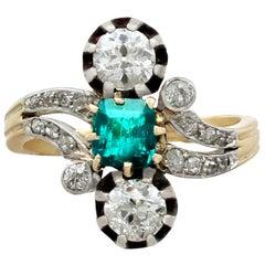 1880s Antique 1.12 Carat Diamond Emerald Yellow Gold Silver Set Twist Ring
