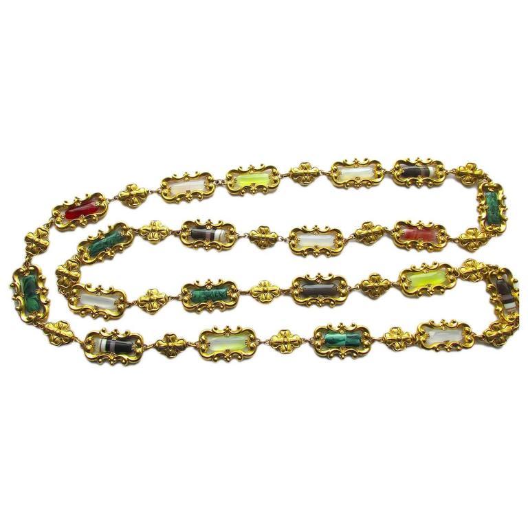 Antique High Victorian gilt metal Agate Necklace, c1850