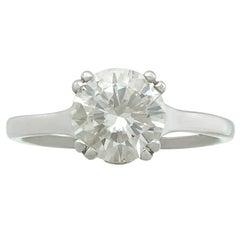 1980s 1.72 Carat Diamond and Contemporary Platinum Solitaire Ring