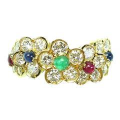 Van Cleef & Arpels Emerald Sapphire Ruby Diamond Gold Fleurette Ring