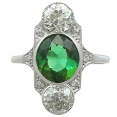 1900s Antique 2.59 Carat Tourmaline and 1.95 Carat Diamond Gold Platinum Ring