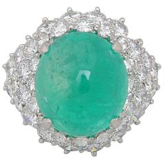Impressive Emerald Cabochon Diamond Platinum Ring