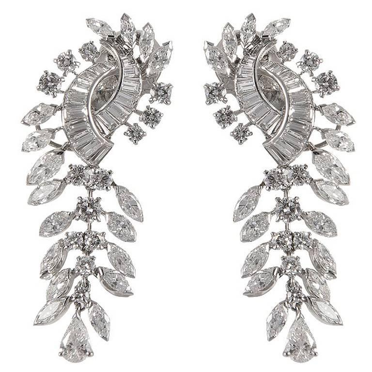 Boucheron Diamond Gold Dangle Earrings For Sale