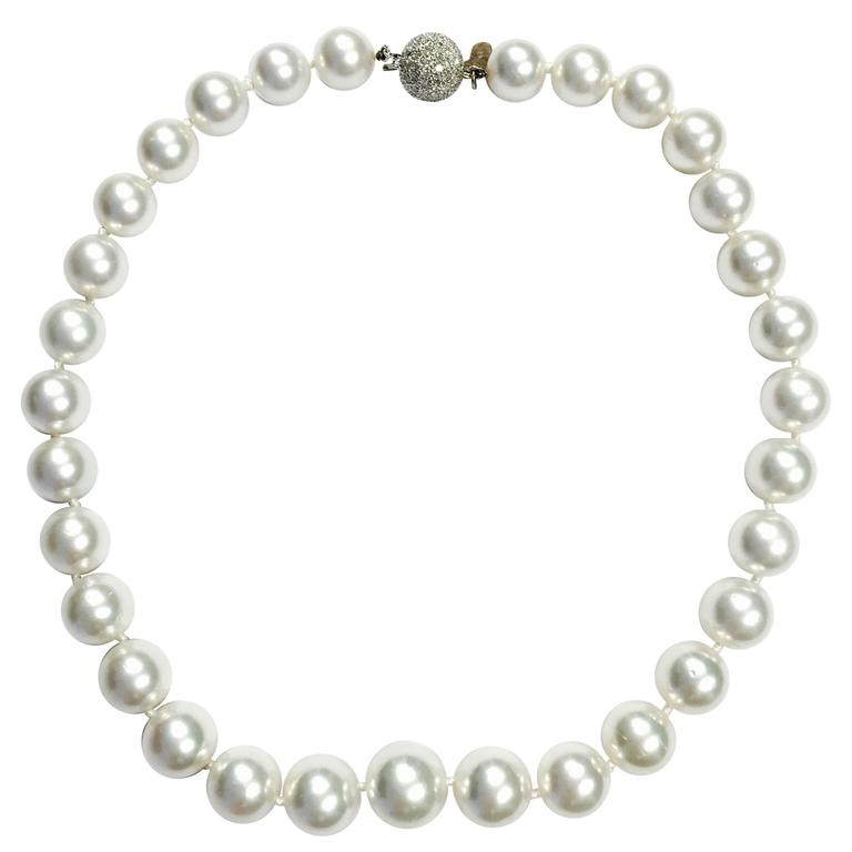 White South Sea Pearl Necklace with Diamond Gold Ball Clasp