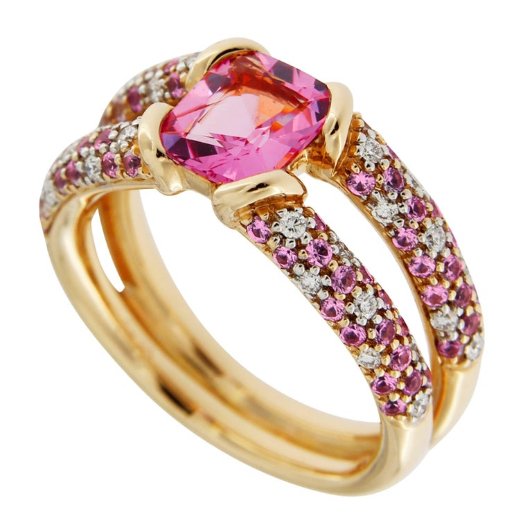 Jona Pink Spinel Pink Sapphire White Diamond 18k Rose Gold Ring For Sale