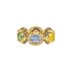 Otto Jakob Fancy Shaped Multicolored Sapphire Enameled Gold Ring