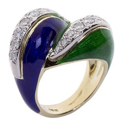 "Tiffany & Co. Blue and Green Enamel ""Paillonné"" Ring"