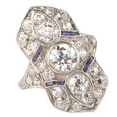 1930s Art Deco Sapphire Diamond Platinum Cocktail Ring