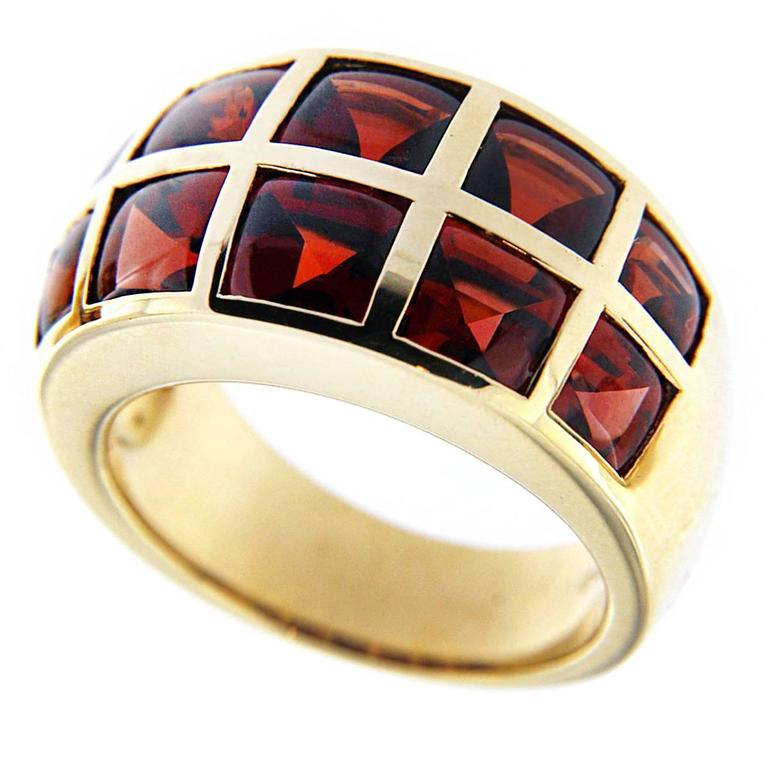 Jona 18 Karat Yellow Gold Garnet Band Ring For Sale