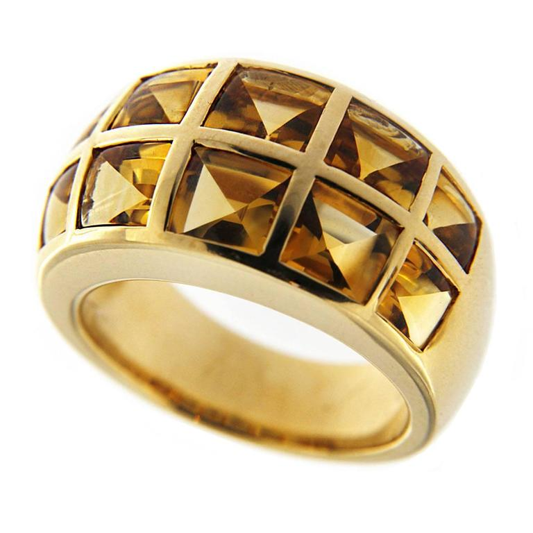 Jona Citrine 18 Karat Yellow Gold Band Ring For Sale