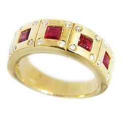 Jona Ruby Diamond Gold Band Ring
