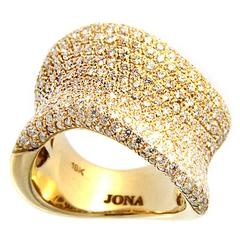 Jona Onda White Diamond 18 Karat Yellow Gold Ring Band