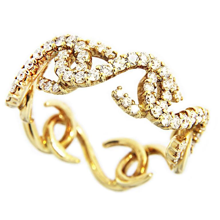 Jona Riccioli White Diamond 18 karat Yellow Gold Ring Band