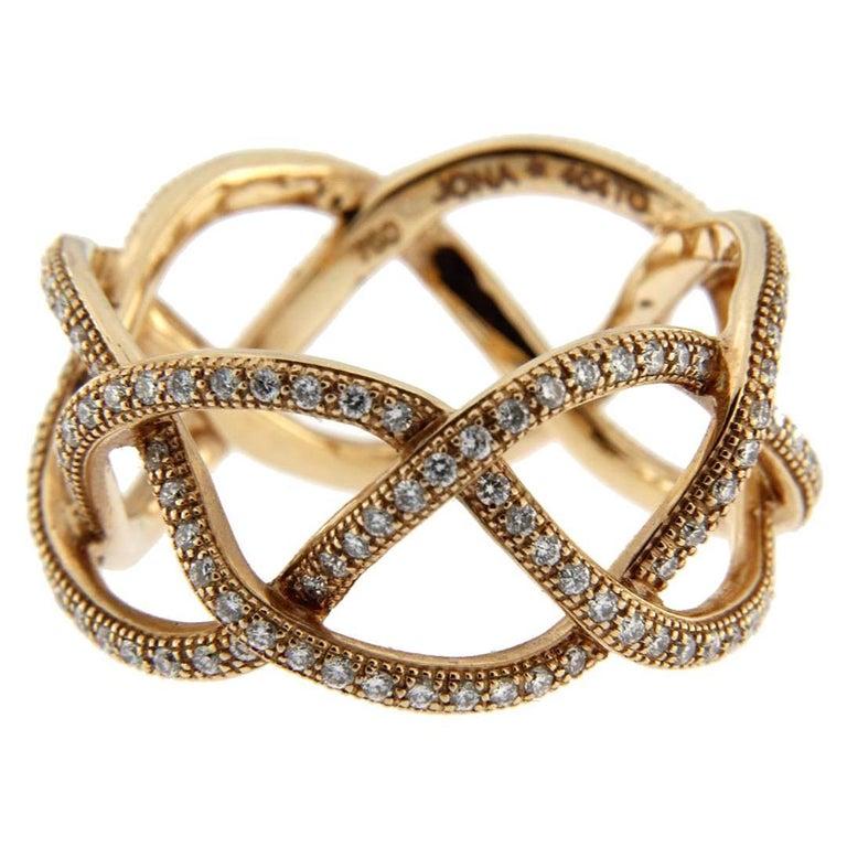 Jona Treillage 18k Pink Gold Eternity White Diamond Band Ring