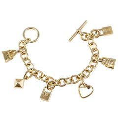 Hermes Gold Six Charm Bracelet