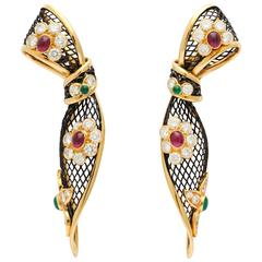 Piaget ruby emerald diamond gold Ear Clips