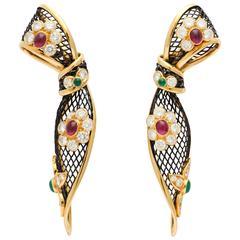 Piaget ruby emerald diamond gold Ear Clips