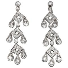1990s Tiffany & Co. Diamond Platinum Pagoda Earrings