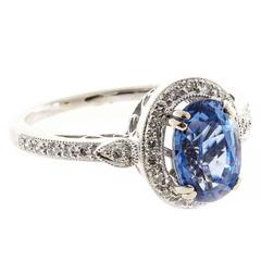 Oval Ceylon Sapphire and Diamond White Gold Ring