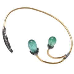 Tumbled Emerald, Pavé Diamond and 18 Karat Gold Wrap Bracelet