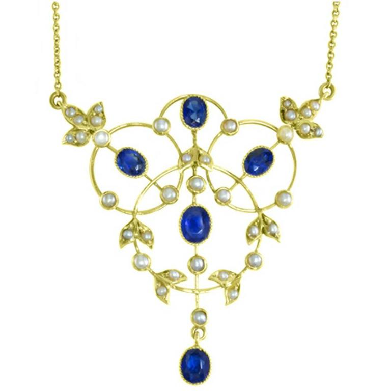 Blue Sapphire Pearl Gold Chain Link Necklace
