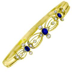 Blue Sapphire Gold Link Bracelet