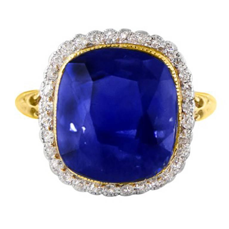 11.37 Carat GIA Certified Rare Unheated Natural Blue Sapphire Diamond Gold Ring 1