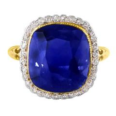 11.37 Carat GIA Certified Rare Unheated Natural Blue Sapphire Diamond Gold Ring