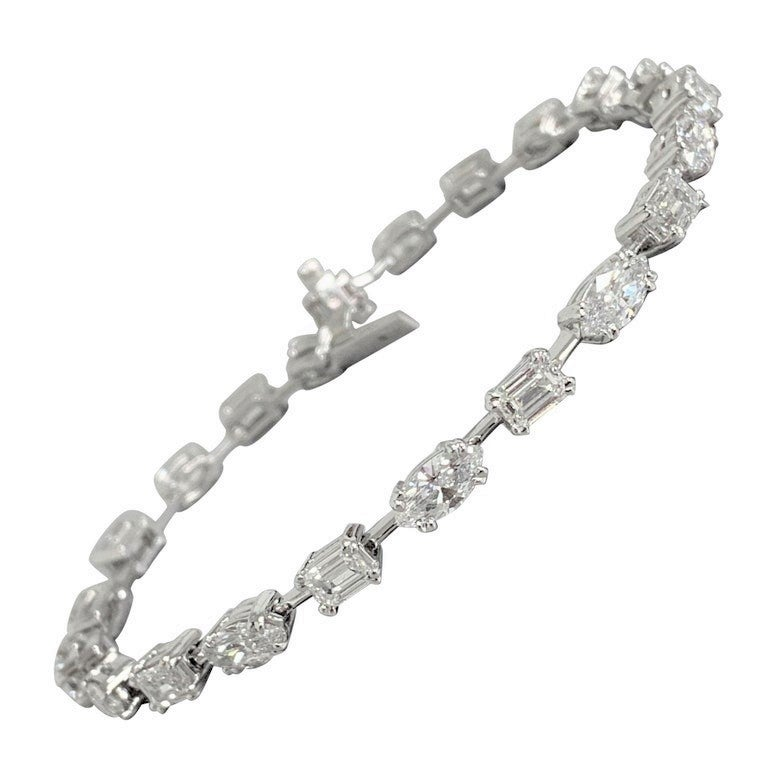 Beauvince Marquise and Emerald Cut Diamond Tennis Bracelet in Platinum