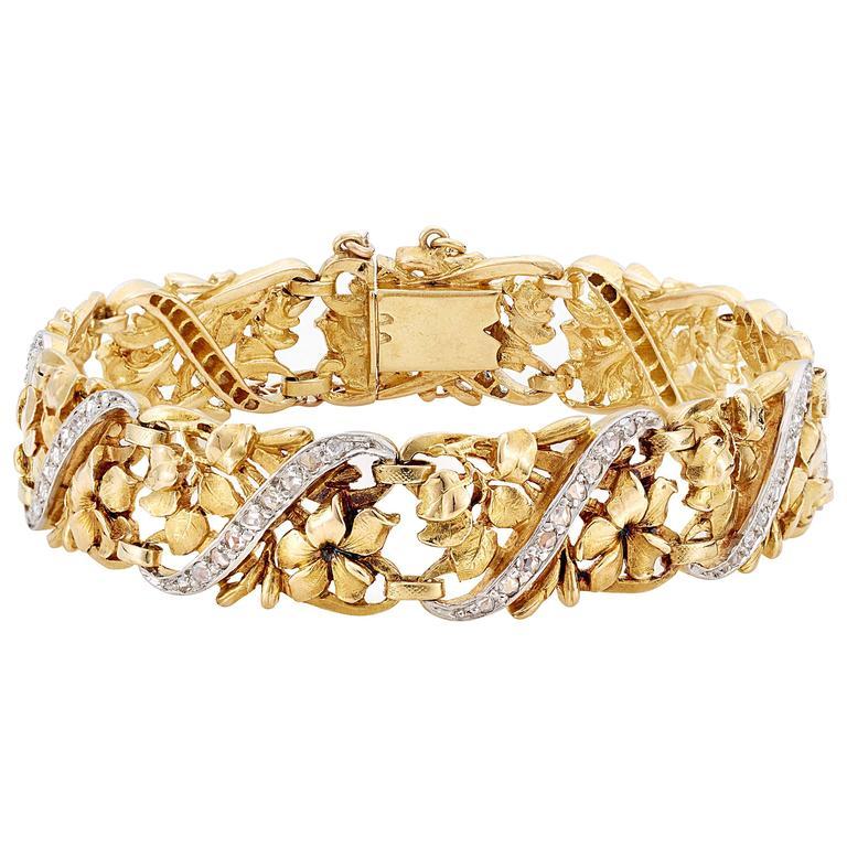 Past Era Belle Époque diamond Gold platinum Openwork Floral Bracelet 1