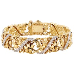 Belle Époque 18K Yellow Gold Diamond Openwork Floral Bracelet