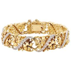 Past Era Belle Époque diamond Gold platinum Openwork Floral Bracelet